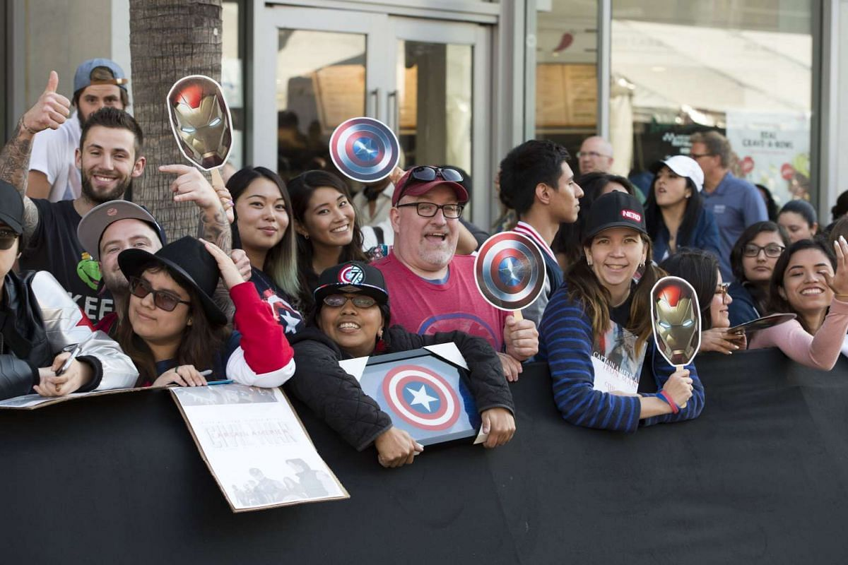 Fans waiting for celebrities at the premiere of Captain America: Civil War on April 12, 2016.