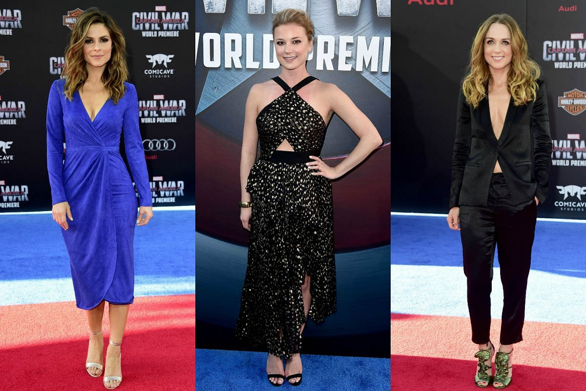 (From left) Actresses Maria Menounos, Emily VanCamp and Kerry Condon attending the premiere of Marvel's Captain America: Civil War at Dolby Theatre on April 12, 2016 in Los Angeles, California.