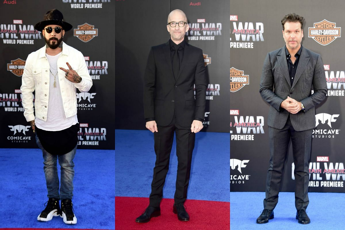 (From left) Musician A. J. McLean, actor Jim Rash and comedian Dane Cook attending the premiere of Marvel's Captain America: Civil War at Dolby Theatre on April 12, 2016.
