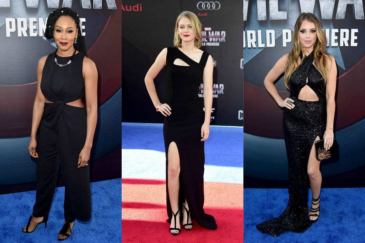(From left) Actresses Simone Cook and Ryan Simpkins, and  singer Jadyn Douglas attending the premiere of Marvel's Captain America: Civil War at Dolby Theatre on April 12, 2016.