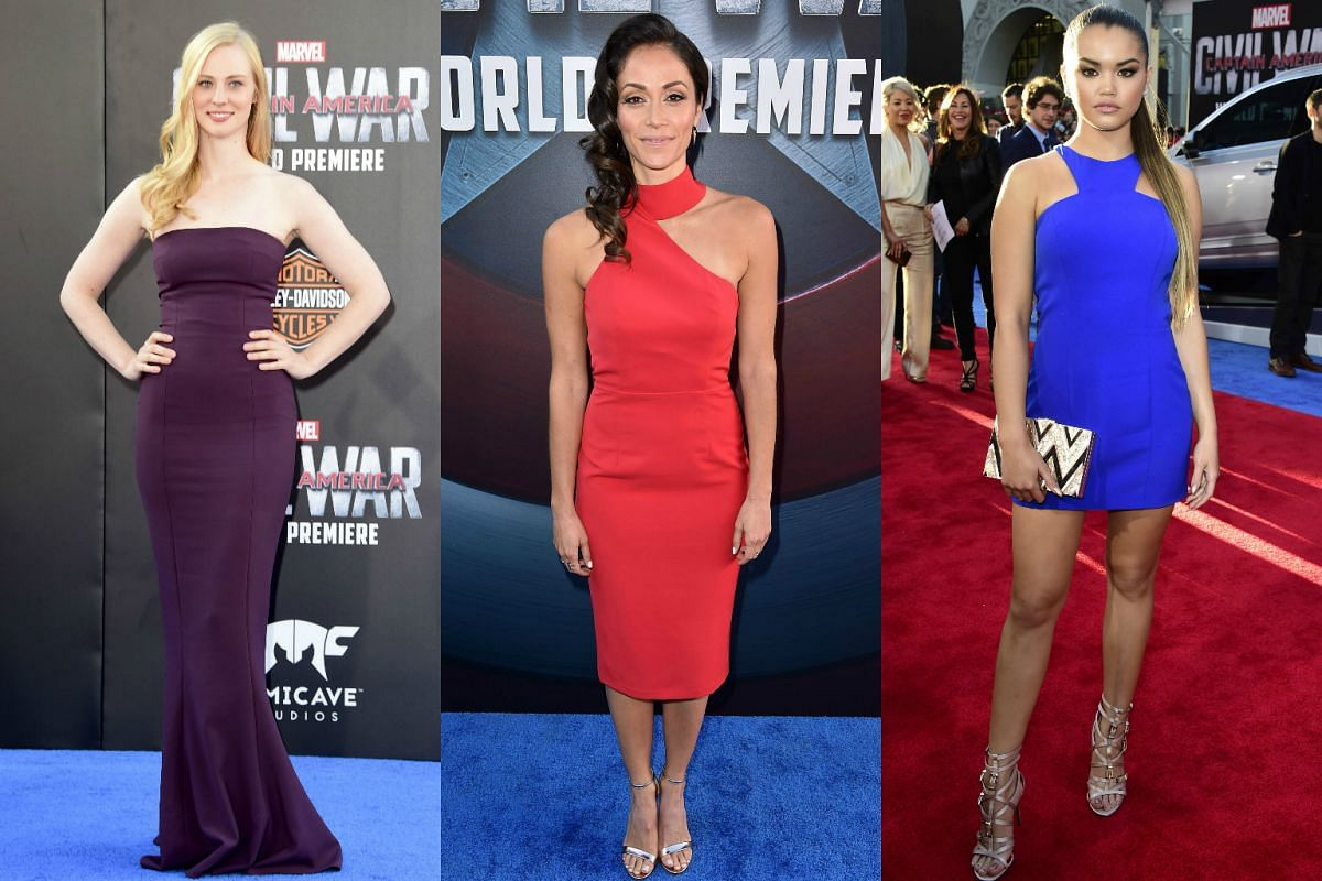 (From left) Actresses Deborah Ann Woll, Fernanda Andrade, Paris Berelc attending the premiere of Marvel's Captain America: Civil War at Dolby Theatre on April 12, 2016.