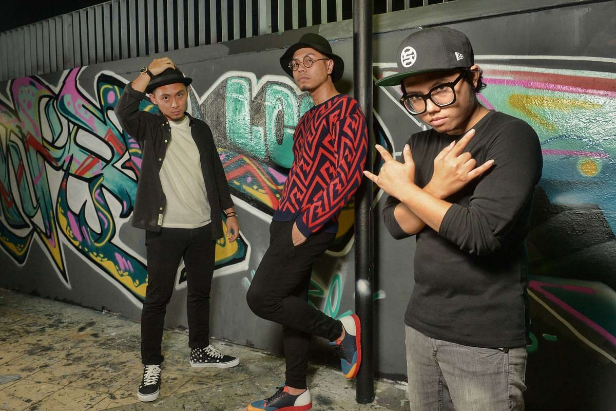 Rappers and producers (from far left) Young, Mean and Azrael are part of The.XS Collective.
