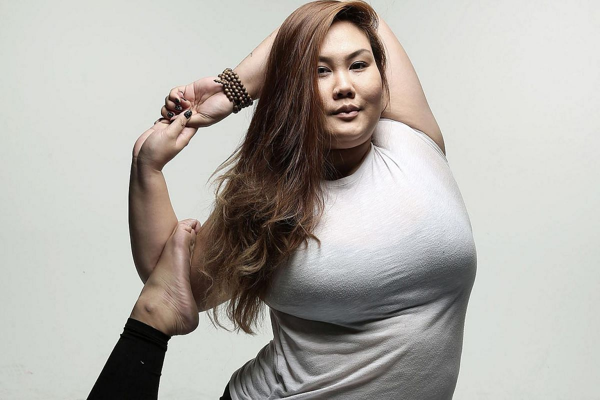 Ms Sha, who is 1.81m tall and weighs 96kg, used to cut herself because of body image issues. Now she has learnt to embrace her appearance, and she wants ''to defy the stereotypes that fat people are just lazy and stay on the couch for most days''.