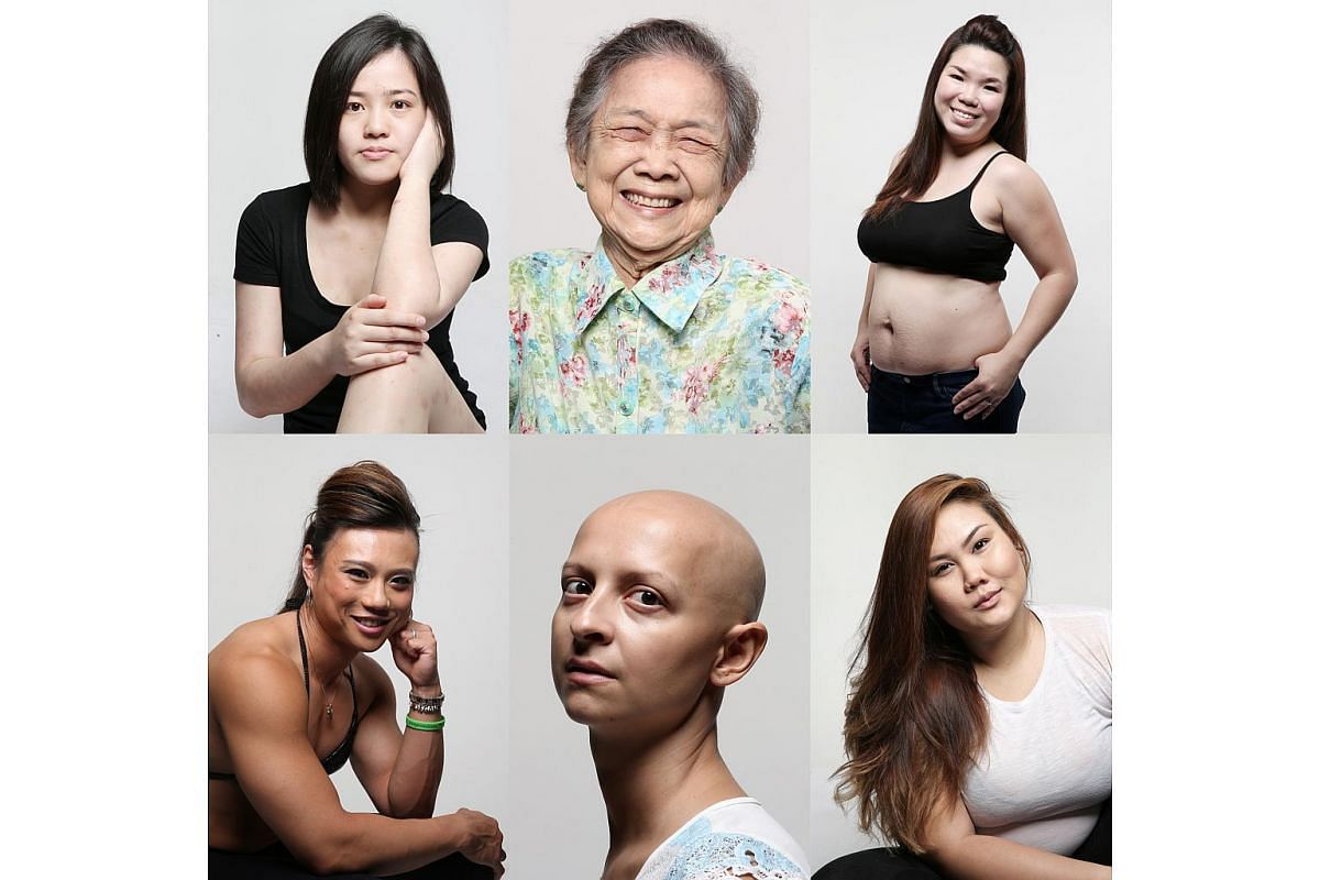 From top left, clockwise: Ms Yvonne Chan, 24, Madam Lily Tan, 92, Mrs Eileen Cheong, 33, Ms Thara Begum Yeo, 29, Mrs Juliet Recordon, 37, and Ms Sha Halim, 25.