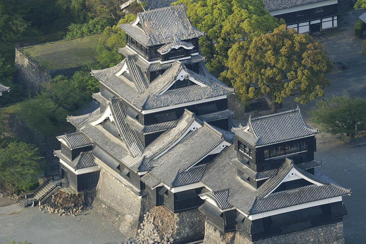 Damage to Kumamoto Castle caused by an earthquake is seen in Kumamoto, Japan, on April 15, 2016.