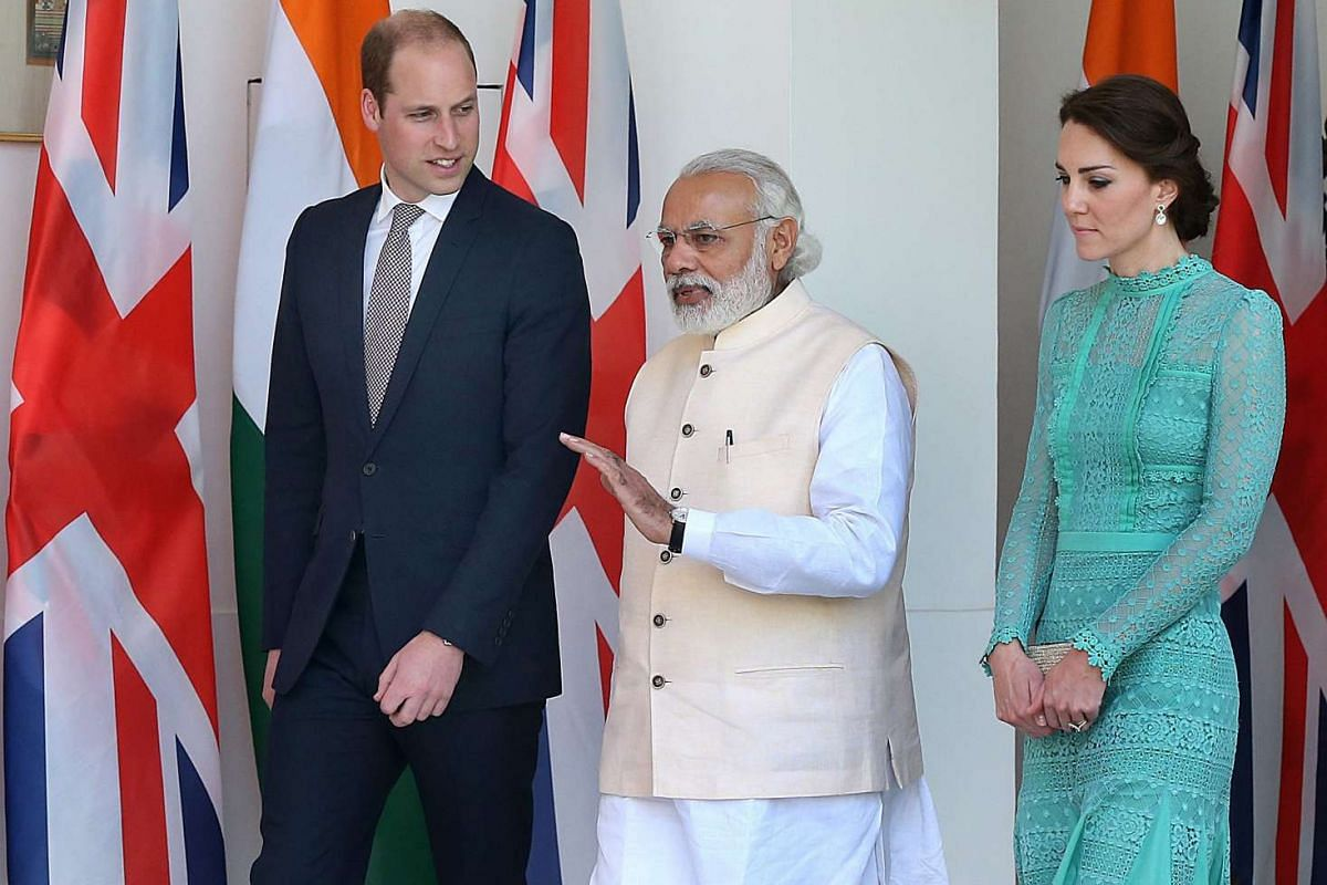 The Duke and Duchess of Cambridge arrive with Indian prime minister Narendra Modi for a meeting at Hyderabad House in New Delhi, India, on April 12, 2016.