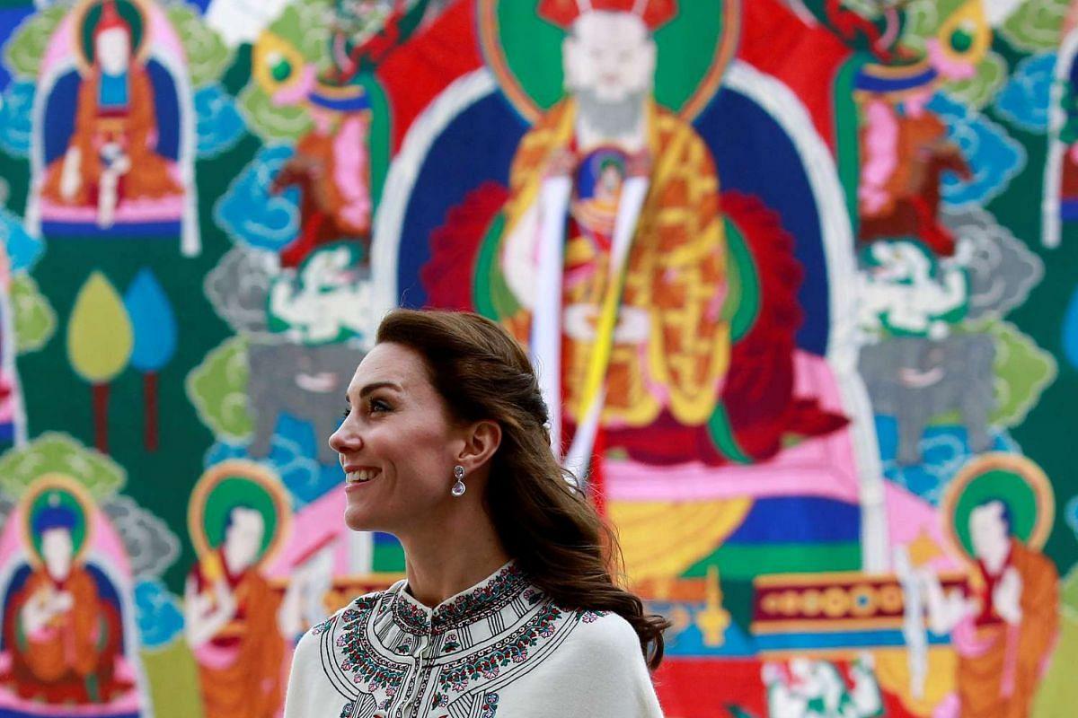 Britain's Catherine, Duchess of Cambridge, looks around the Tashichho Dzong temple in Thimphu, Bhutan, on April 14, 2016.