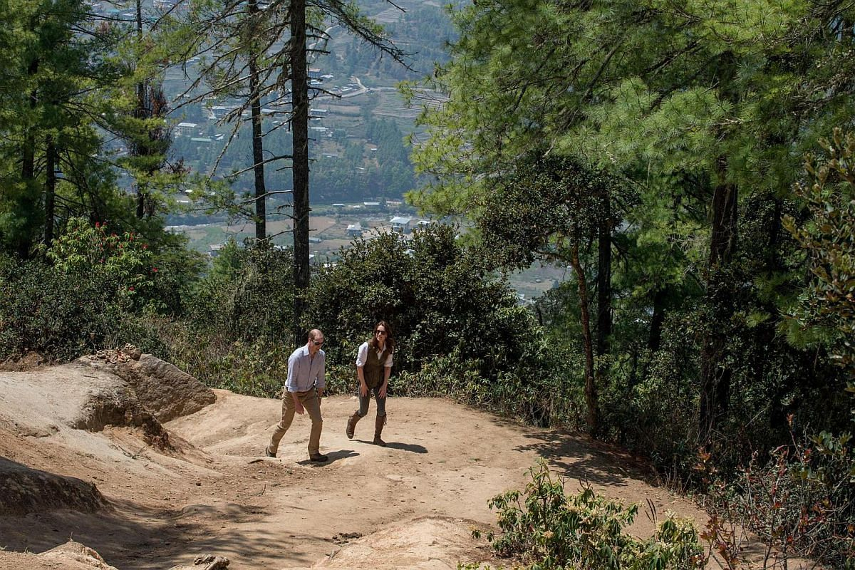William and Kate walk up the trail leading to Tiger's Nest, on their visit to Bhutan, on April 15, 2016.