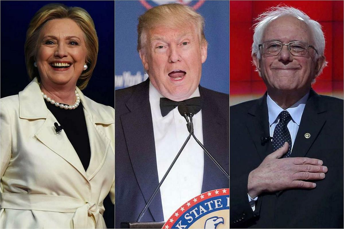From left: US Presidential candidates Hillary Clinton, Donald Trump and Bernie Sanders.