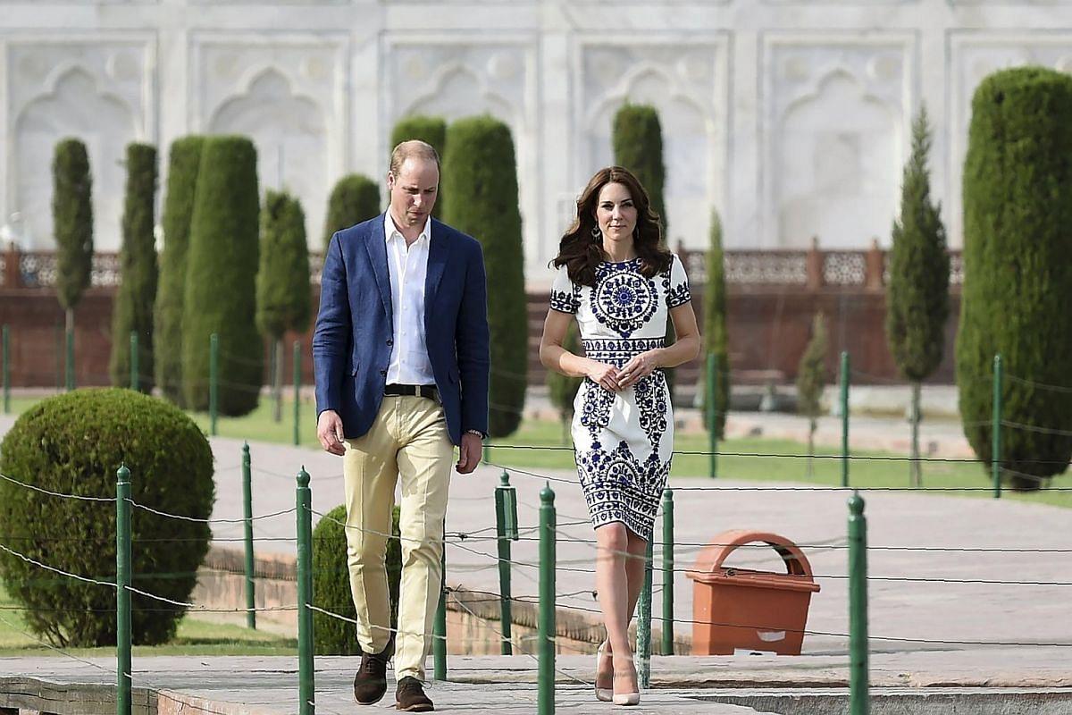William and Kate visit the Taj Mahal in Agra, India,  on April 16, 2016.