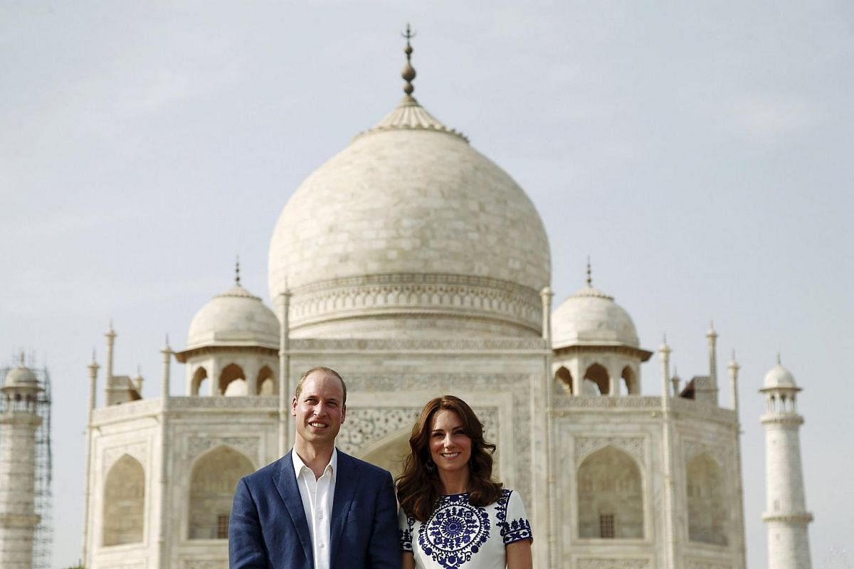 William and Kate pose in front of the Taj Mahal in Agra, India,  on April 16, 2016.