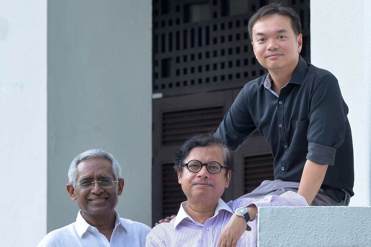 The Singapore Chronicles' general editors (from left) Arun Mahizhnan and Asad Latif and their research assistant Sim Jui Liang.