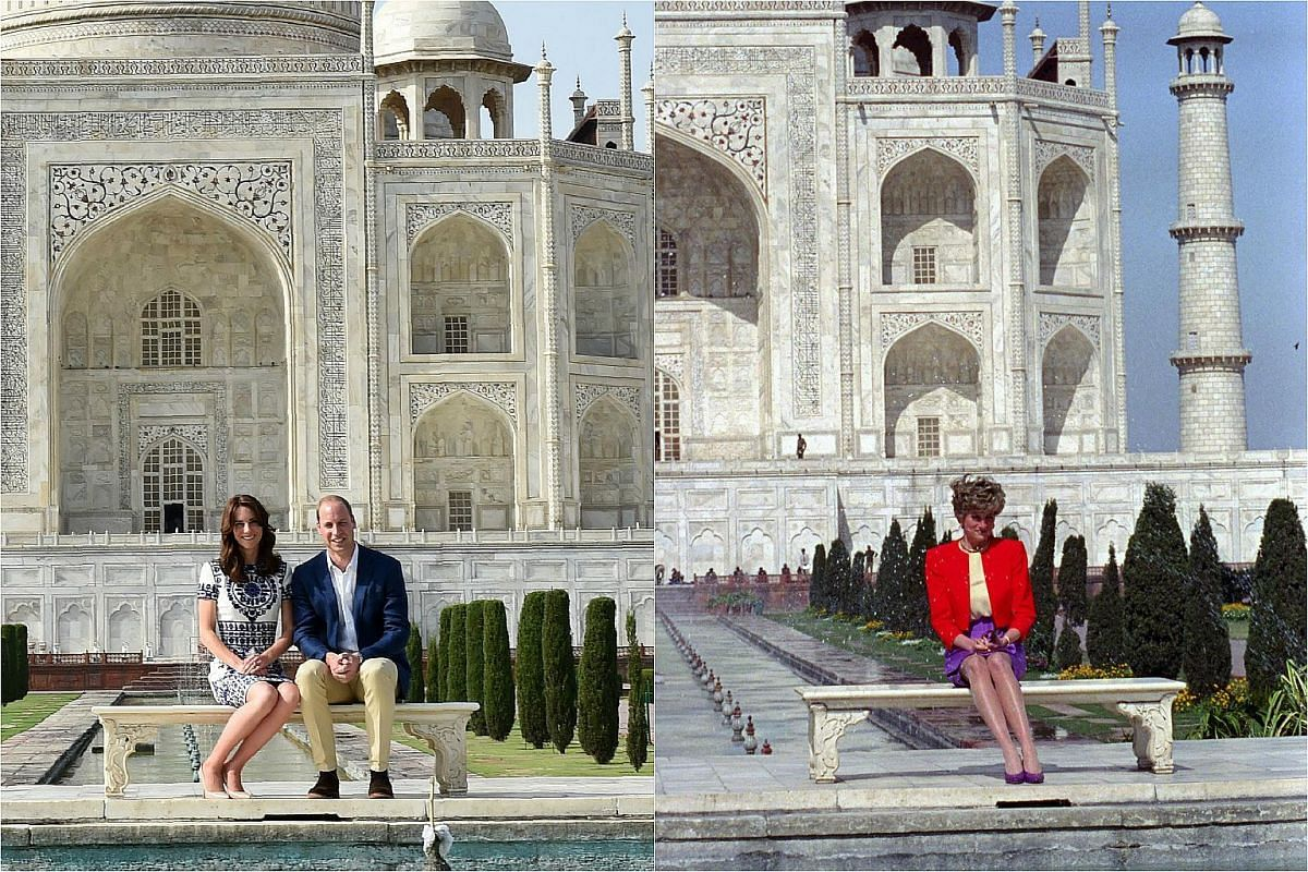 William and Kate pose in front of the Taj Mahal, where Princess Diana (right) visited in 1992.