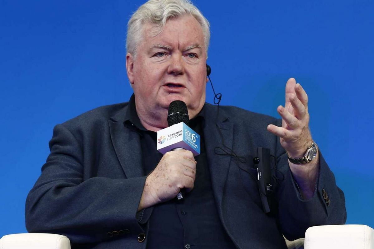 British producer Iain Smith gestures during a panel discussion of the Sino-Foreign Film Co-production Forum.