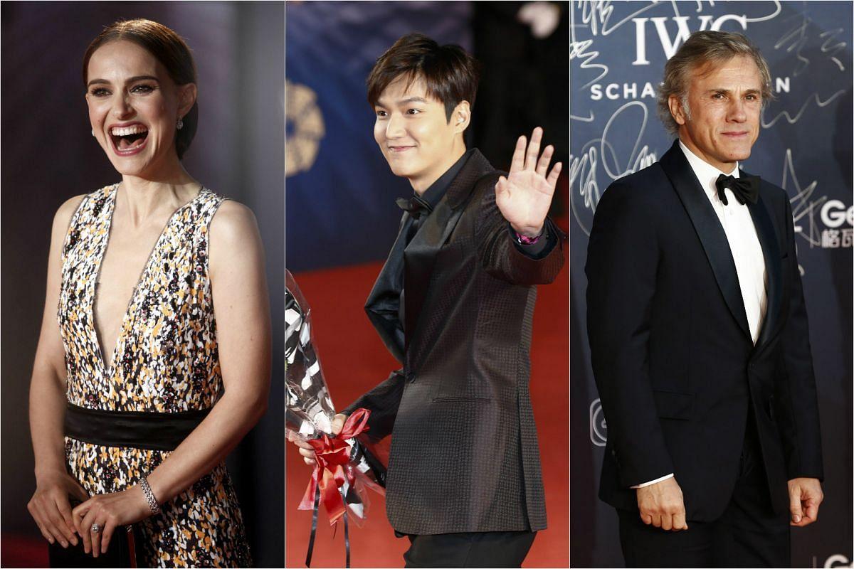 From left: US actress Natalie Portman, South Korean actor Lee Min Ho and Austrian-German actor Christoph Waltz