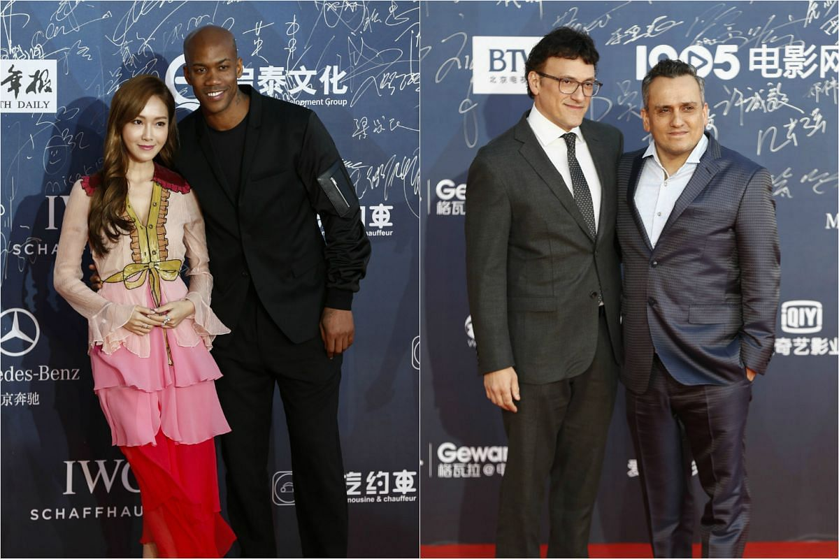 From left: Singer Jessica Jung and former NBA player Stephon Marbury, with US directors Anthony Russo and Joe Russo.