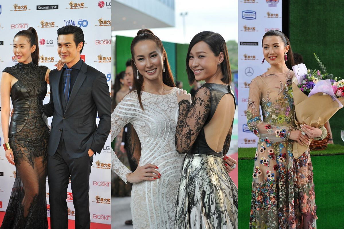 (From left) Jesseca Liu, Pierre Png, Paige Chua, Ya Hui and Jeanette Aw during the red carpet of the Star Awards 2016.
