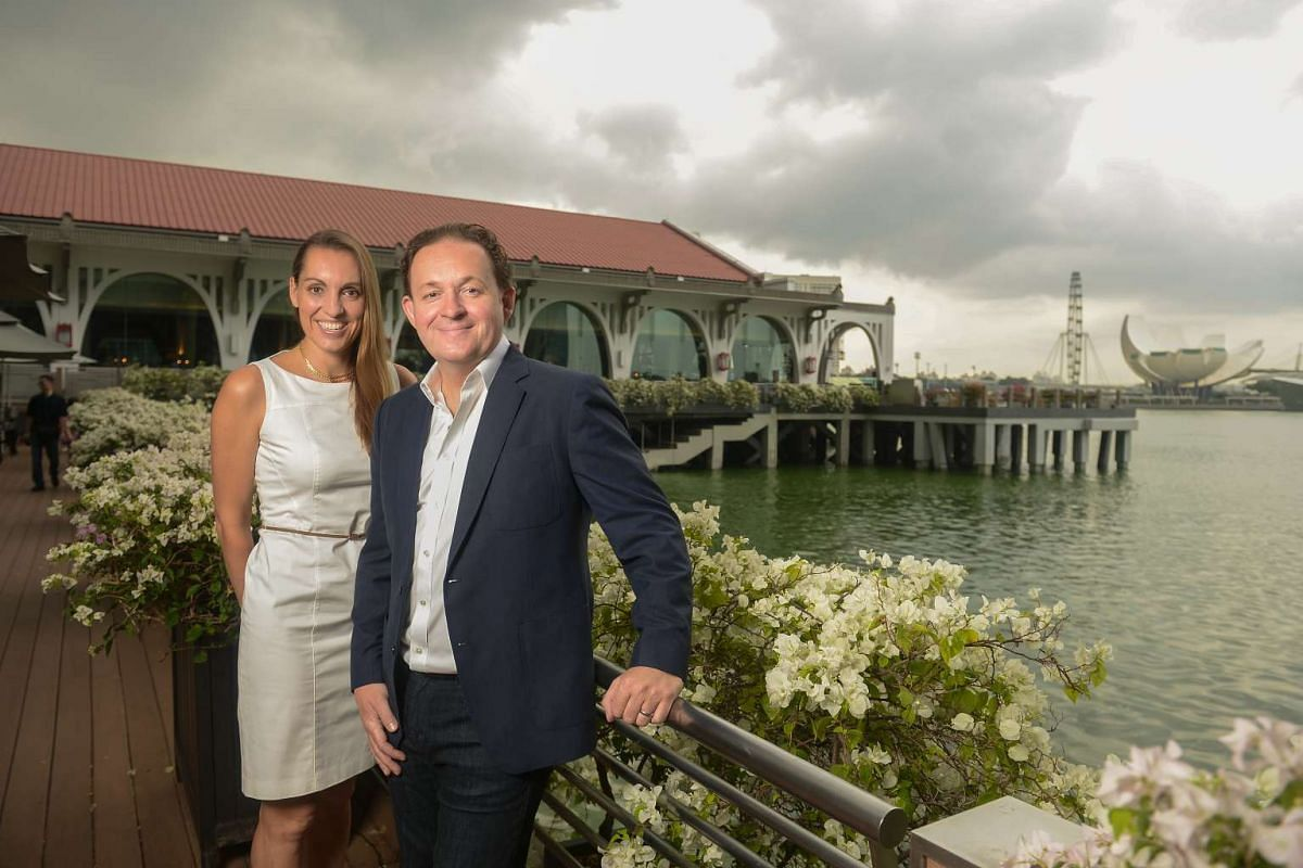 Mr and Mrs James Lohan at The Fullerton Bay Hotel, one of seven Singapore hotels on the Mr and Mrs Smith list.