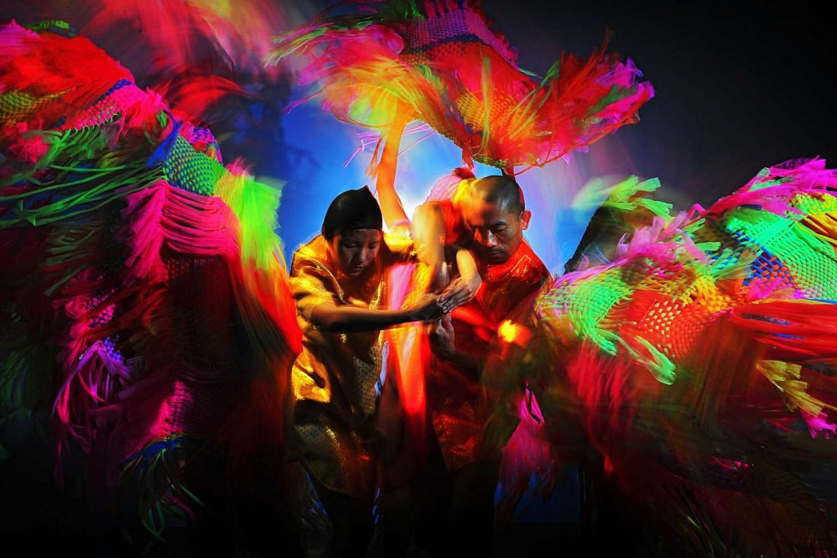 Dancing With Death (above) is inspired by a ghost festival in Thailand that celebrates death and fertility.