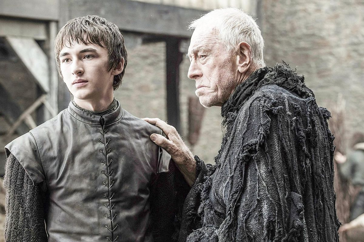 Isaac Hempstead Wright (left) as Bran Stark and Max von Sydow as the Three-Eyed Raven.