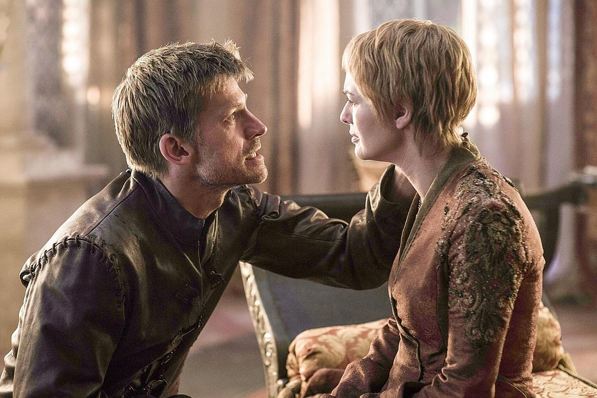 Nikolaj Coster-Waldau as Jaime Lannister and Lena Headey as Cersei Lannister in Game Of Thrones (above).