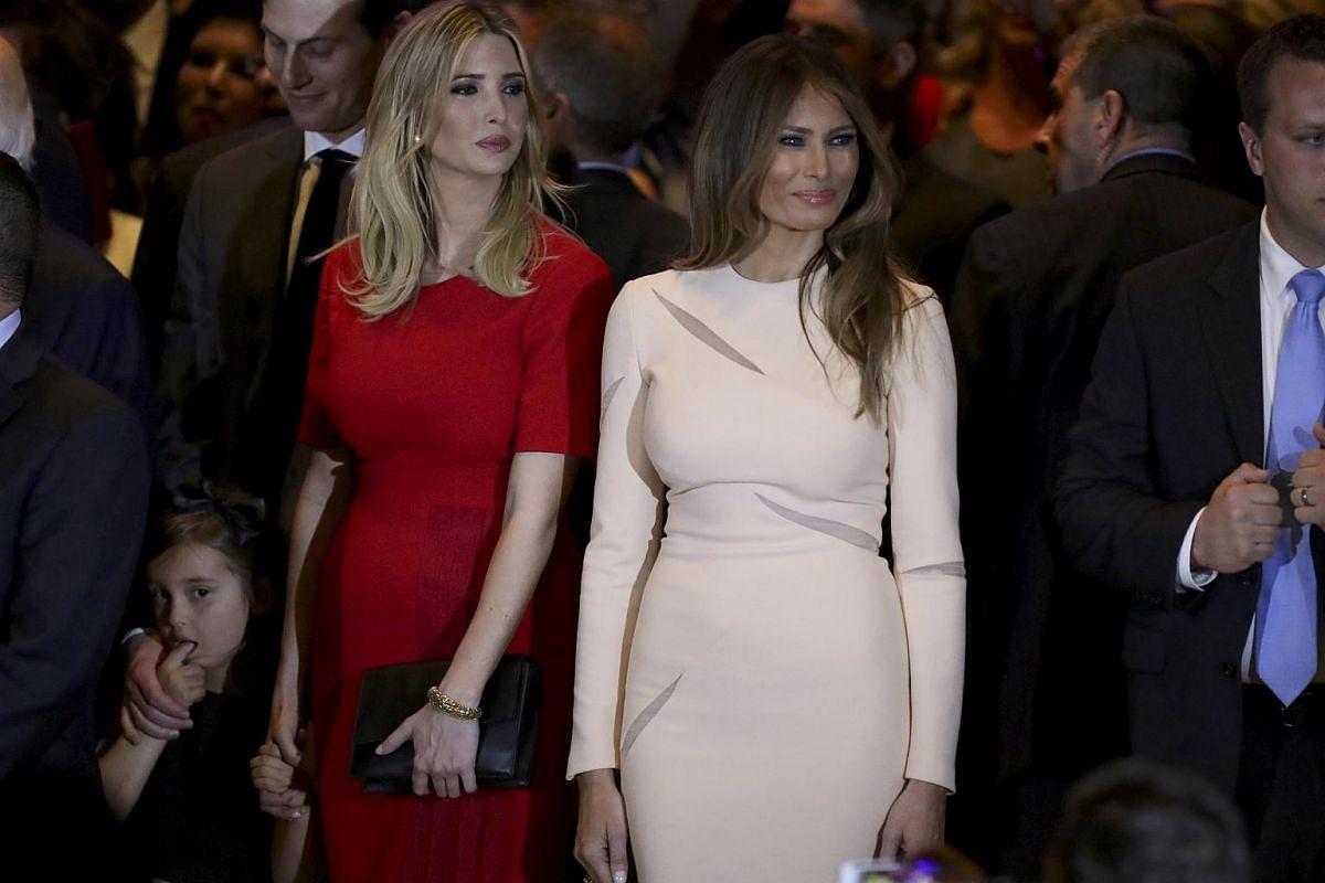 Republican US presidential candidate Donald Trump's granddaughter Arabella (left), daughter Ivanka (centre) and wife Melania (right) listening to him speak at his New York presidential primary night rally in Manhattan, New York, US, on April 19, 2016