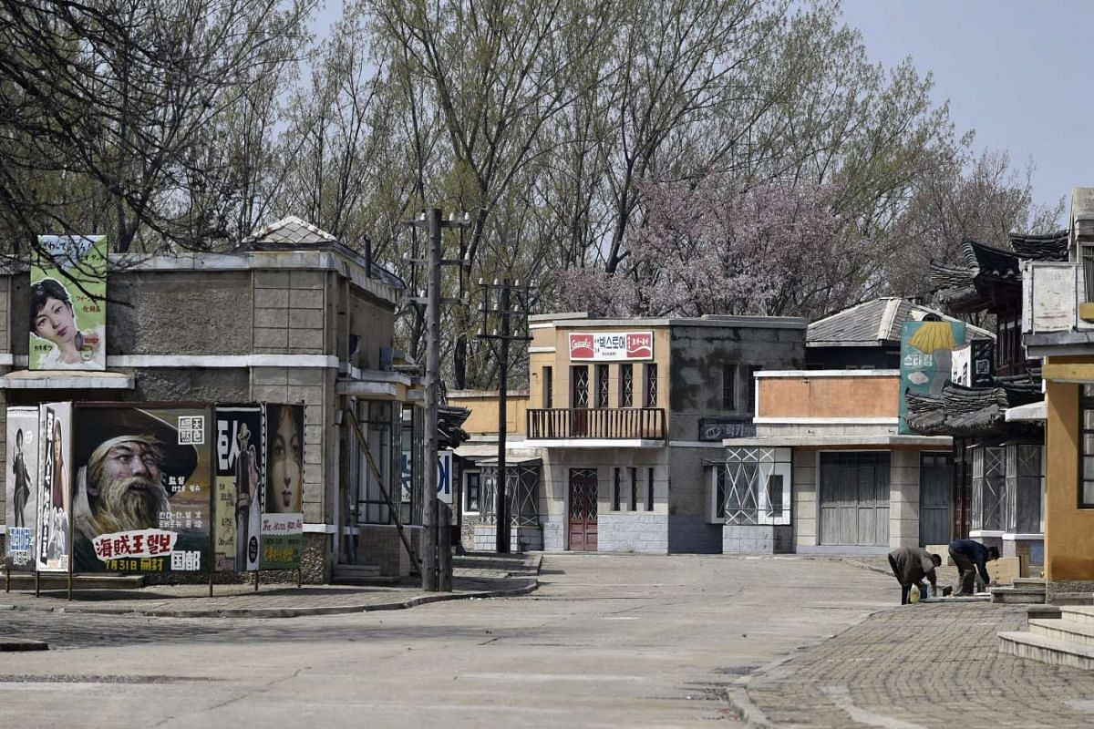 A photo made available on April 21, 2016 shows a South Korean-style street used for movie shootings at the state-run Korean Film Studio in Pyongyang, North Korea.