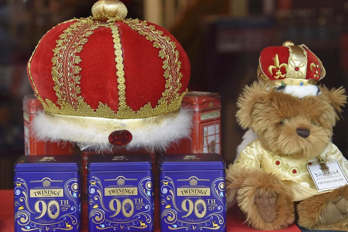 Detail is seen on a window display themed for the forthcoming birthday of Britain's Queen Elizabeth.