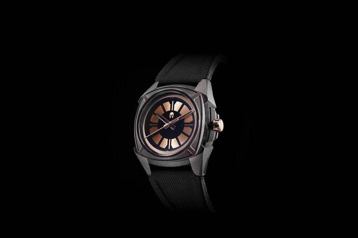 Together with friends, he has designed watches for Ventus, including the Black Kite, and Vilhelm, which has one model, The Elemental (above).