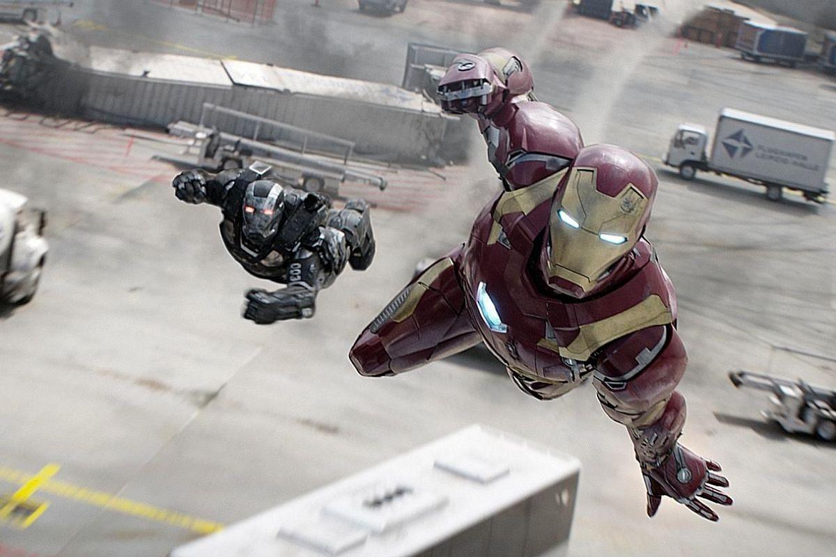 (From far left) Anthony Mackie, Paul Rudd, Jeremy Renner, Chris Evans, Elizabeth Olsen and Sebastian Stan in Captain America: Civil War. Robert Downey Jr stars as Iron Man (left).