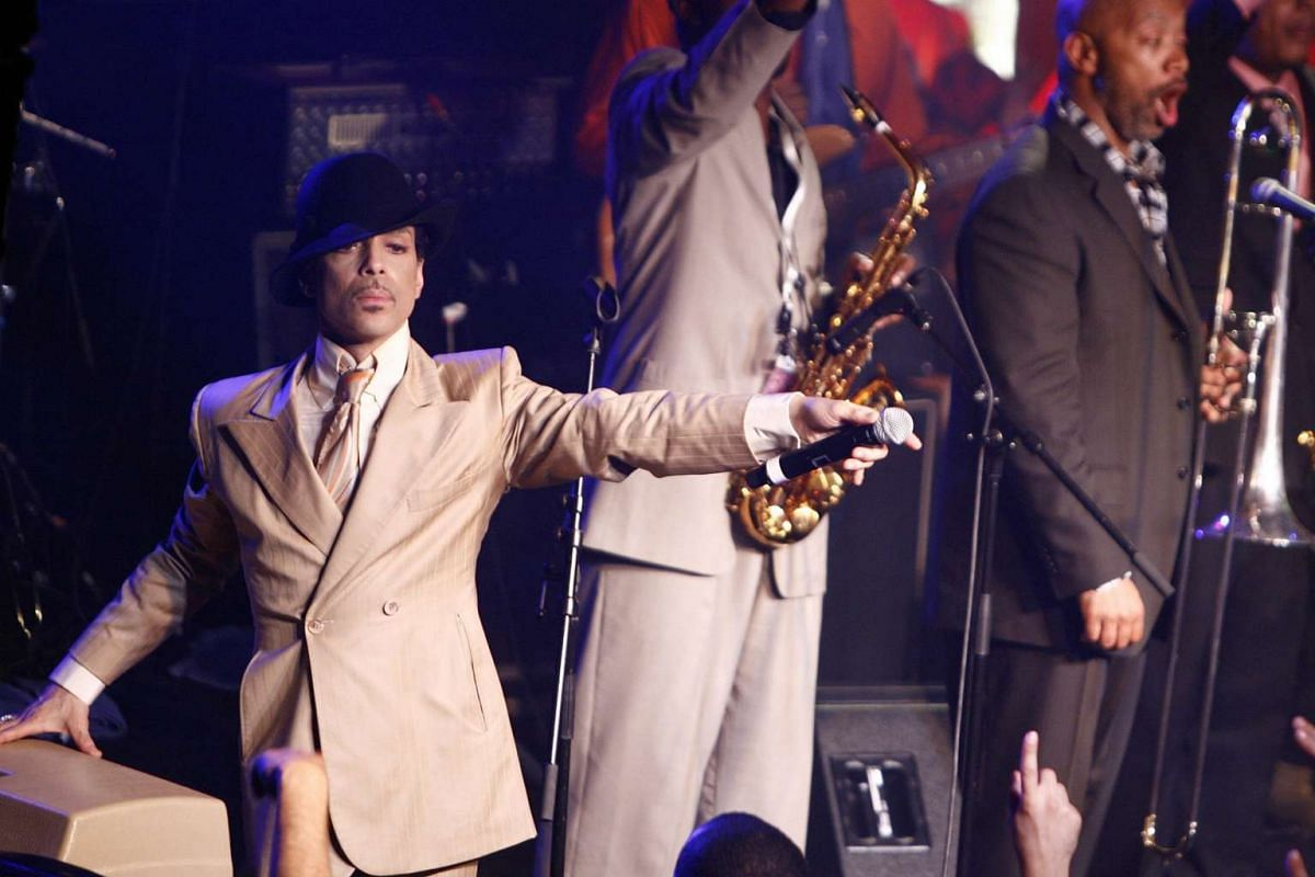 Prince performing during a jam session in the Montreux Jazz Cafe after his concert at the 41st Montreux Jazz Festival, in Montreux, Switzerland, on July 17, 2007.