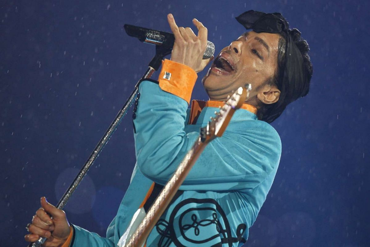 Prince performing during the halftime show of the NFL's Super Bowl XLI football game between the Chicago Bears and the Indianapolis Colts in Miami, Florida, on Feb 4, 2007.