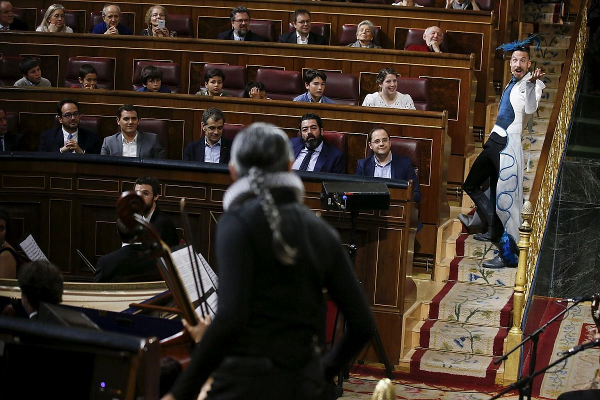 Actors performing inside Spanish parliament to commemorate the 400th anniversary of the death of Spanish writer Miguel de Cervantes, in Madrid, Spain, on April 21, 2016.