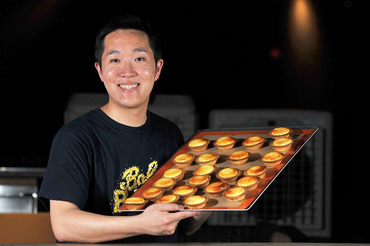Bake's Shintaro Naganuma (above) and Antoinette's chef-owner Pang Kok Keong with their versions of cheese tarts.