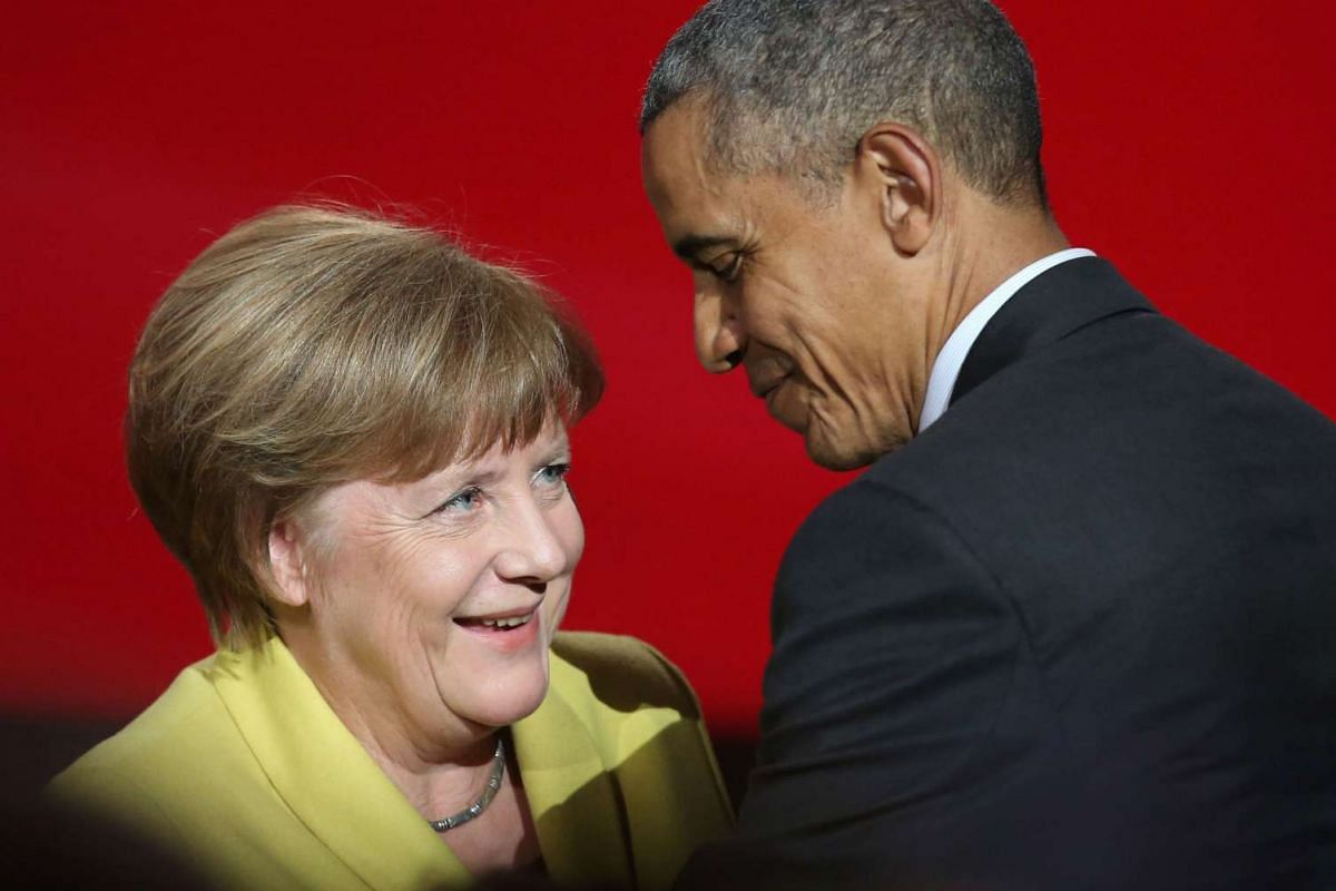 US President Barack Obama (right) and German Chancellor Angela Merkel attending the official opening ceremony of the Hanover Industry Fair in Hanover, on April 24, 2016.