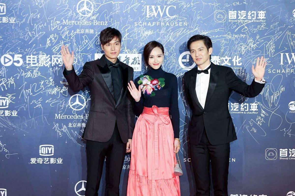 From left: South Korean actor Lee MinHo, Chinese actress Tang Yan and Hong Kong actor Wallace Chung.