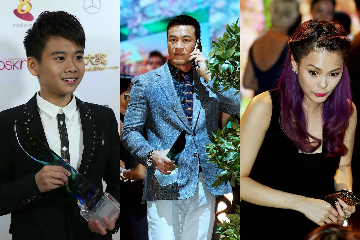 Young Talent Award winner Damien Teo (left), Top 10 Most Popular Male Artistes winner Zheng Ge Ping (centre) and Hayley Woo at the Star Awards 2016.