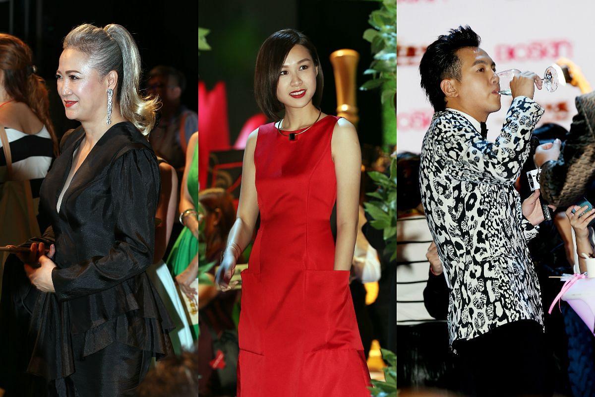 Hong Huifang (left), Ya Hui (centre) and Ian Fang at the Star Awards 2016.