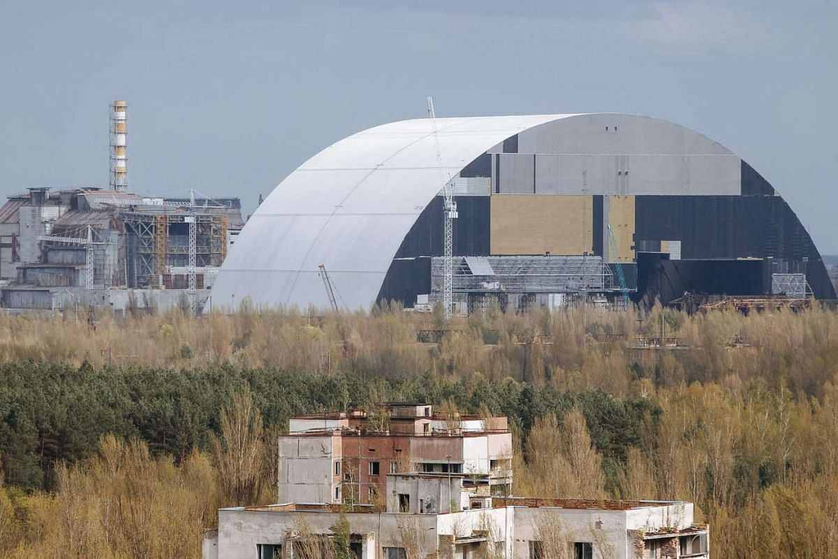 The construction of a new protective shelter which will be placed over the remains of the nuclear reactor Unit 4 of Chernobyl nuclear power plant, Ukraine.