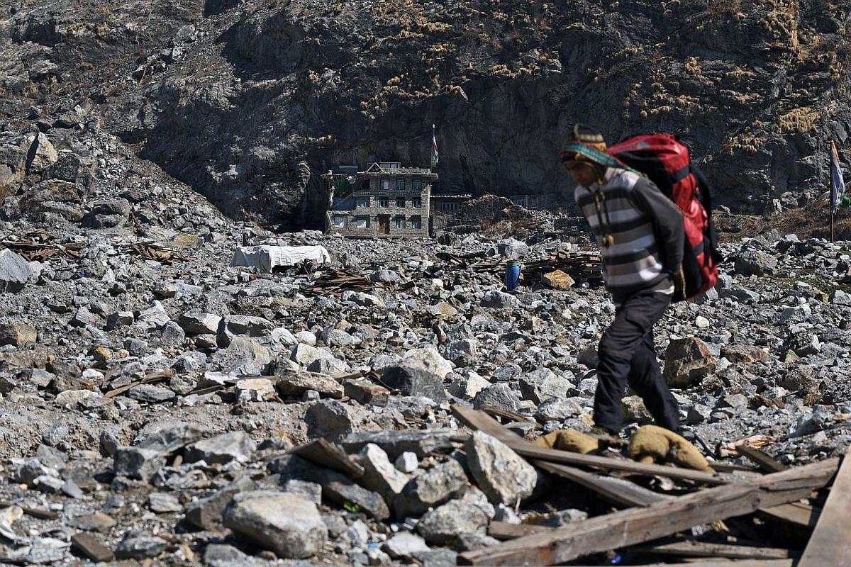 Langtang village undergoing rebuilding for the coming autumn season when trekkers are expected to arrive in large numbers. The weather is supposed to be at its clearest and most stable then. There are plans to build eight new lodges by that time. The