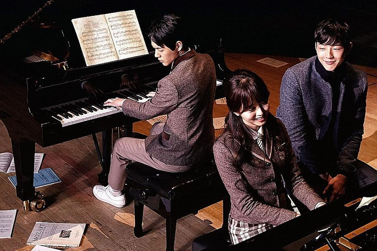 Page Turner, a spiky-sweet tale about three aspiring musicians, stars (from left) Shin Jae Ha, Kim So Hyun and Ji Soo.