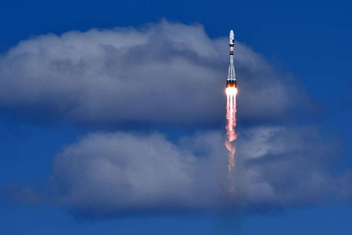 A Russian Soyuz 2.1a rocket carrying Lomonosov, Aist-2D and SamSat-218 satellites lifting off from the launch pad at the new Vostochny cosmodrome outside the city of Uglegorsk, in the far eastern Amur region, on April 28, 2016.