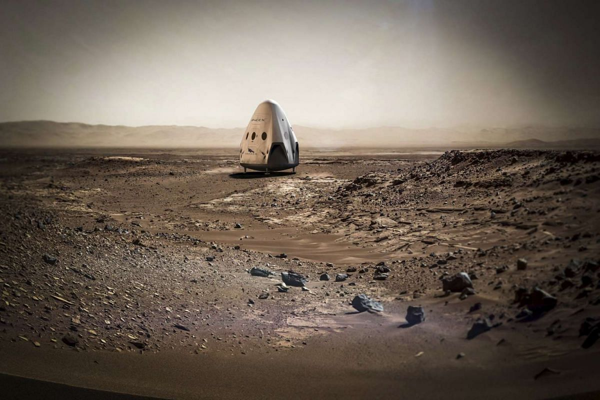 A SpaceX dragon capsule is shown on the surface of Mars in this artist's concept photo provided on April 27, 2016.