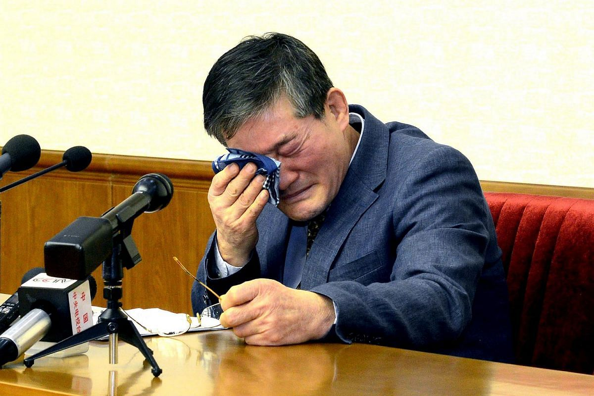Naturalised American citizen Kim Dong Chul, who was arrested in North Korea in October, is seen at a news conference in Pyongyang, North Korea, on March 25, 2016.