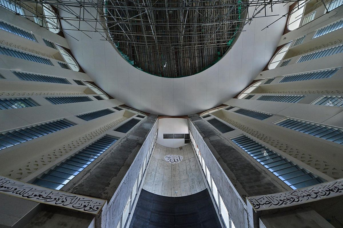 Photo of the interior and exterior of the new Maarof Mosque which is yet to be completed.
