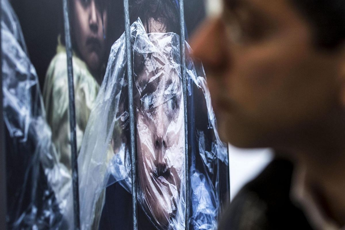 A moment of the World Press Photo 2016 exhibition in Rome, Museo di Roma in Trastevere, on April 28, 2016.