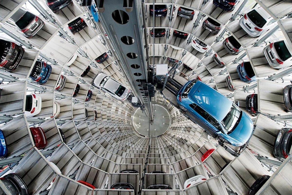 New Volkswagen cars on a car tower at the VW plant in Wolfsburg, Germany, on April 28, 2016.