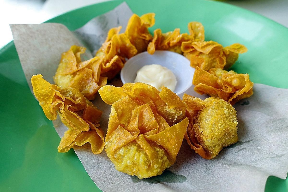 The recipe for these deep-fried crab meat wontons, which spurt juice with every bite, was found via Google.