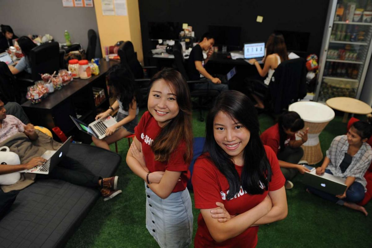 Ms Josephine Chow (right), 28, ShopBack's Singapore country manager. With her is Ms Samantha Soh (left), 23, a founder of the online cashback rewards site.