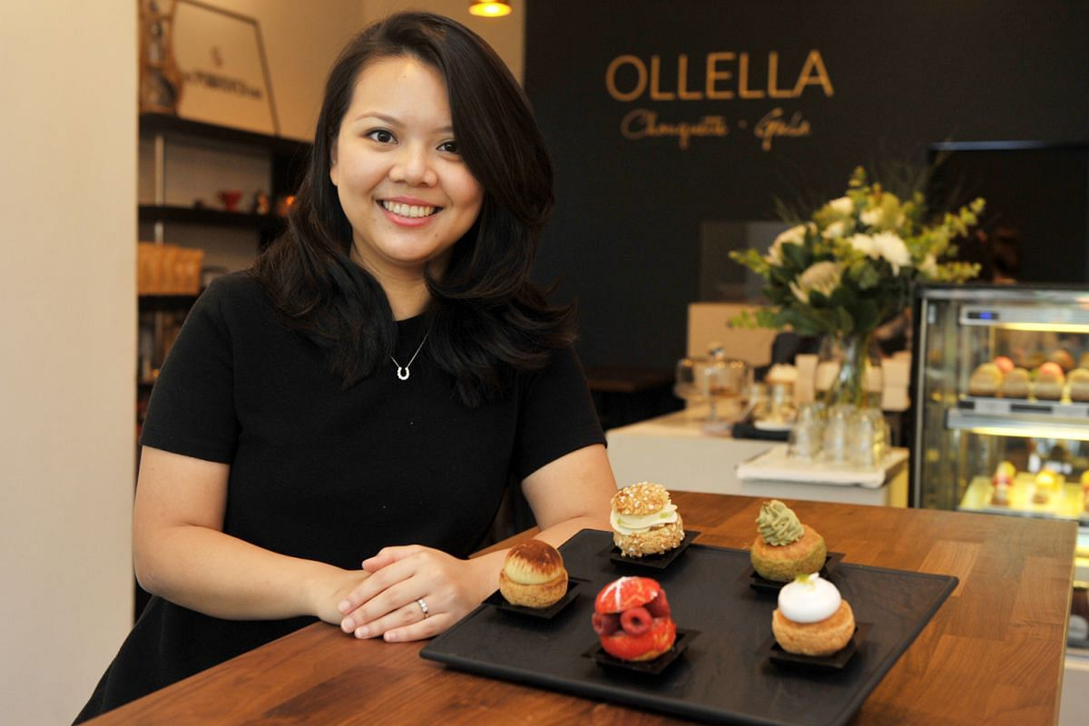 Ollela co-owner Marcella Putri with its fancy choux pastries.